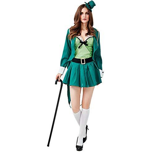 ISSHE Traje Irlandés del Día de San Patricio Leprechaun Traje de Mago Adulto Chaqueta Top S-L