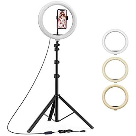 """YOZTI 7 Feet Long Tripod Stand (84 Inch) with 10"""" LED Ring Light Combo for Tiktok MX Taka tak Instagram Reels YouTube vlogging Vigo Video Shooting and Recording with Mobile Phone Camera Clip Setup"""