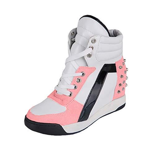 Damen Keilabsatz Sneakers Turnschuhe Sportschuhe Freizeit Schuhe mit Erhöht Einlegesohle Frauen Wedges Schnürschuhe Sneakers Schuhe Größe 35-39