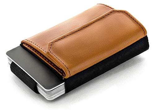 JAIMIE JACOBS Minimalist Wallet Nano Boy Pocket Mini Geldbörse aus Textil mit Zugband schmaler Kartenhalter für Herren und Damen (Cognac)