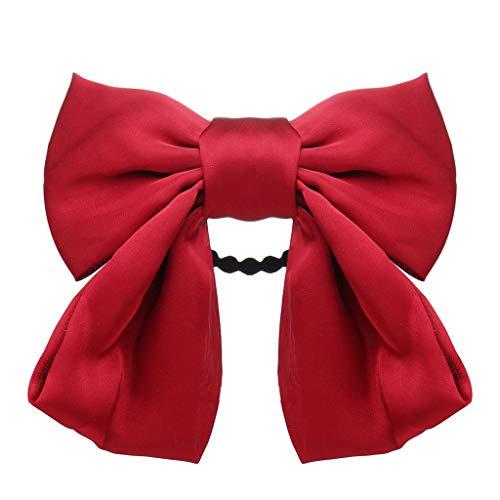 Junjie Français Rétro Romantique Arc Rouge Épingle À Cheveux Coiffe Tête Clip Filles Bijoux Cadeaux Bande De Cheveux (rouge, rose, vert, bleu, noir, jaune)