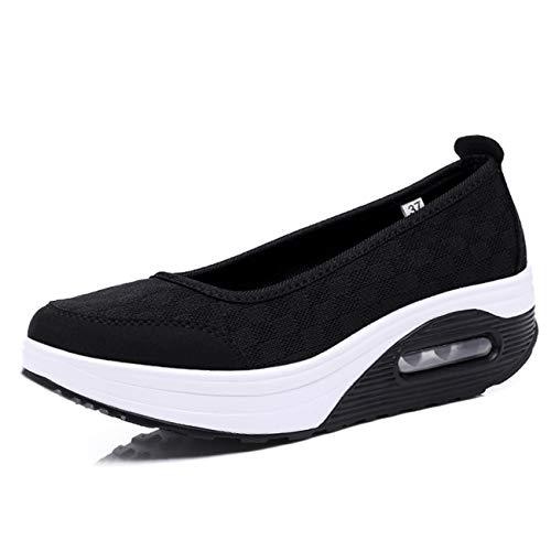 [Sunlane] 船型底ナースシューズ スニーカー厚底 ダイエットシューズ 安全靴 ナースシューズ 看護師 介護士 通気性 柔軟性 本革 通気 エアクッション付き お母さん 婦人靴 軽量 疲れにくい ブラック 24.0cm