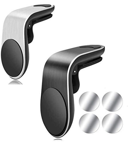 Jahubo Soporte Magnético para Coches Paquete de 2 Clips de Montura en Negro y Plateado – Soporte Universal para Las Rejillas de Aire – Montura Magnética Minimalista para Las Rejillas de Ventilación