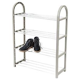 Étagère à chaussures à 4 niveaux, rangement de chaussures qui peut contenir 8 paires de chaussures, tient dans des…