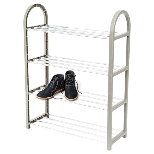 Shoe Rack 4 Tier, Slim Shoe Storage Storage That Holds 8 Pairs Of Shoes, Fits Into Shoe Racks Metal Poles And Gray Plastic Rattan Frame -shoe Rack White -19.7