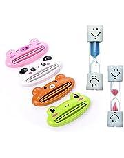 Reloj de arena de 2 minutos de Cheap4uk, temporizador para que los niños se laven los dientes, incluye 2 exprimidores para tubos de pasta de dientes