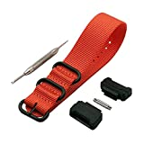 Adapters(16mm) and 1 Piece HD Conversion RAF NATO Nylon Watch Band Strap Kit for Casio GShock MIL-Shock 5600 GWM5610 DW6600 GW6900 2310 G100 (Orange)
