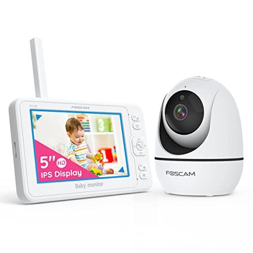 Foscam Babyphone mit Kamera 1080P 5 Zoll HD Baby Monitor Display, Infrarot-Nachsicht 2-Wege Audio, VOX-Modus, 8 Schlaflieder, Temperatursensor, Pan-Tilt-Zoom, Video Recording&Playback