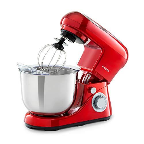 Klarstein Bella Pico 2G - Robot da Cucina, Mixer, Impastatrice, 1200 W / 1,6 PS, 6 Livelli, Sistema di Miscelazione Planetario, Ciotola in Acciaio Inox da 5L, Rosso
