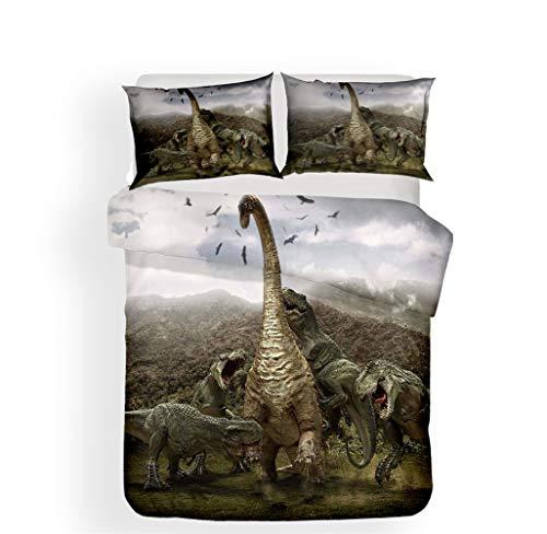 LanS Jurassic overlord 3d dinosaur duvet cover bedding Set, duvet cover and pillowcase, 3 Piece Set bedding (duvet cover + 2 pillowcases) high density, soft, No allergy (A,Double-200x200cm)