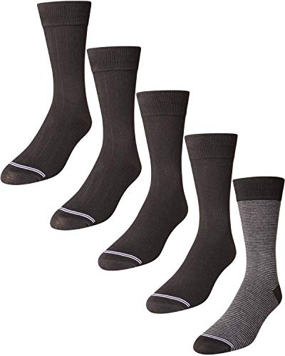 'Nautica Men's Breathable Stretch Comfort Classic Solid Dress Socks (5 Pack) (Black/Grey, Shoe Size: 6-12.5)'