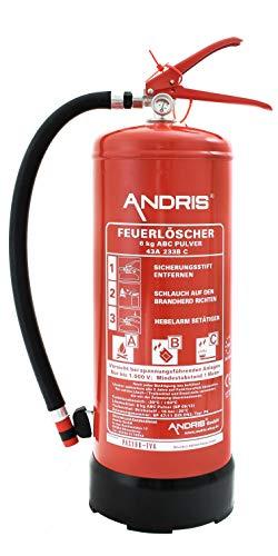 ANDRIS® Feuerlöscher 6kg ABC Pulverlöscher leistungsstärker da 12LE mit Manometer EN3, Wandhalterung, ANDRIS® Instandhaltungsnachweis
