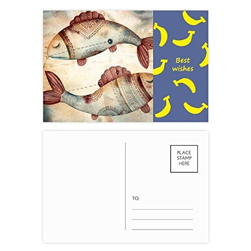 DIYthinker maart Vissen sterrenbeeld Zodiac Banaan Postkaart Set Thanks Card Mailing Side 20 stks 5.7 inch x 3.8 inch Multi kleuren