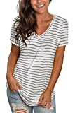 V Neck T Shirts Women Loose Fit Summer Tops Short Sleeve Striped Grey XL