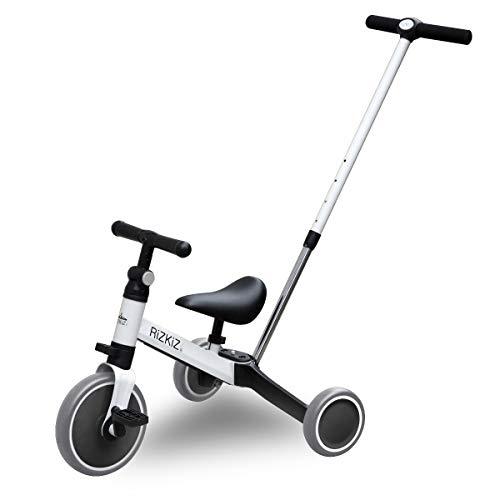 RiZKiZ 2in1 折たたみ三輪車 二輪車 大人用ハンドルバー付き 【ホワイト】 2WAY 1歳から5歳まで 足蹴り ハンドル サドル 調整可能 空気入れ不要 安心 安全