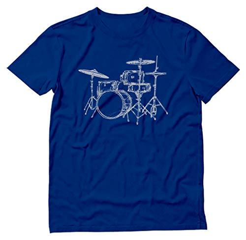 TeeStars - Presente para baterista - Camiseta estampada Cool Drums, Azul, XL