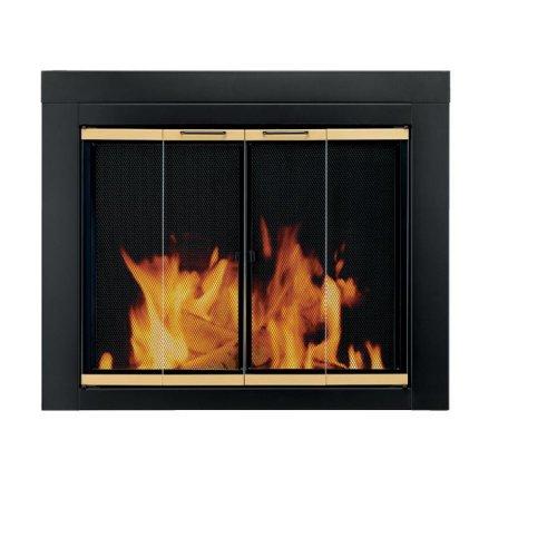 Pleasant Hearth AR-1022 Arrington Fireplace Glass Door, Black, Large
