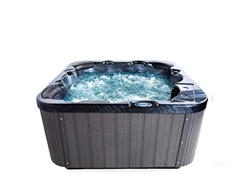 Beliani Großes Outdoor Spa 30 Jetstream Düsen Sanitäracryl dunkelgrau Sanremo