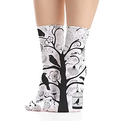 Unisex Dress Cool Colorful Fancy Novelty Funny Casual Combed Cotton Crew Socks,Tree with Swirling Branches Artistic Flowers Birds and a Bird Cage