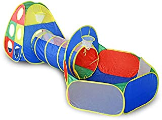 Ball Pit Tunnels and Play Tent for Toddlers, Baby Indoor Playground for Kids, Boys and Girls (Balls Not Included) (3-Piece)