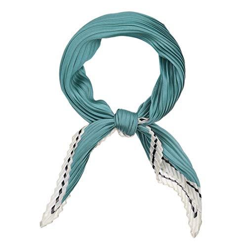 sourcing map Damen Plissee Rhombus Schals Kopfband Bandana Halstuch Blau Grün 96 x 43cm