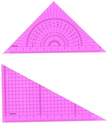 コンサイス 定規 カラー三角定規セット 15cm ピンク 118442