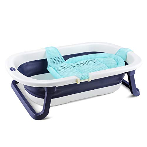Navaris faltbare Babybadewanne mit Badesitz und Ablaufstöpsel - Kinderbadewanne faltbar - Wanne mit Sicherheitsbadesitz und Stöpsel - Baby Kinder