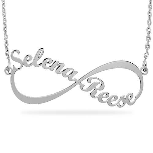 JoelleJewelryDesign Collar Infinito Nombres Pareja Chapado en Oro 18k, Colgante Infinito en Plata de Primera Ley con Dos Nombres