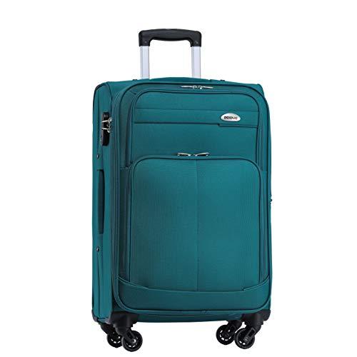 BEIBYE 4 Rollen Reisekoffer 3tlg.Stoffkoffer Handgepäck Kindergepäck Gepäck Koffer Trolley Set-XL-L-M (Turquoise, L-Mittlerer Koffer-64cm)