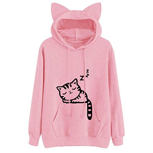 Women Hoodeis, Shybuy Women Cute Shirt, Shybuy Women Teen Girls Cotton Pullover Hoodie Sweater Tops with Kangaroo Pocket (Pink, M)