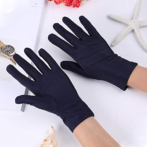 GBSTA Vingerloze Handschoenen Elastische spandex mannen en vrouwen zwart-wit etiquette zonnebrandcrème handschoenen dans disk kralen rijden auto lente en zomer dunne sectie Navy 5 Pairs