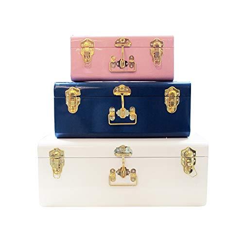 Zanzer - Juego de 3 baúles de colores surtidos, estilo vintage, con asas y cerraduras de acabado dorado, organizador de ahorro de...