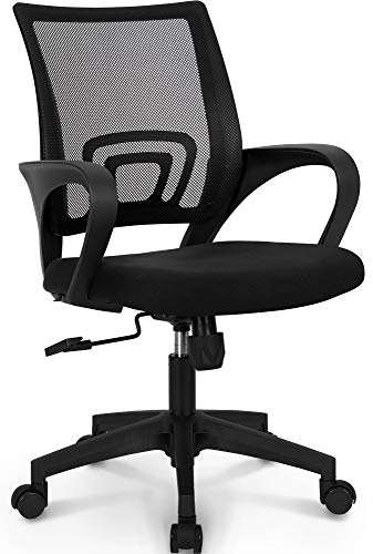 NEO CHAIR Office Chair Computer Desk Chair Gaming - Ergonomic Mid Back Cushion Lumbar Support with Wheels Comfortable Blue Mesh Racing Seat Adjustable Swivel Rolling Home Executive (Black)