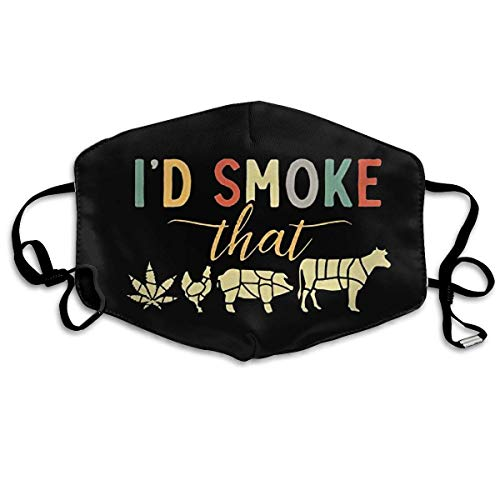 Mundschutz Gesichtsschutz Unisex Reusable Nose Face Cover with I'd Smoke That BBQ Funny 420 Day Mouth Cover Face Cover with Adjustable Earloops