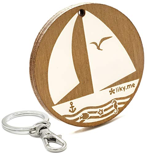 LIKY® Segeln - Original Schlüsselanhänger aus Holz Gravur Geschenk Damen Herren Geburtstag Hobby Schmuck Anhänger Tasche Rucksack