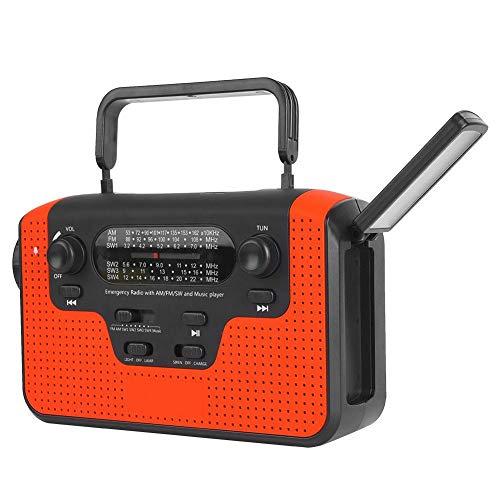 Keen so Multifunktions-Solar-Handkurbelradio, Solar-Handkurbel-Multiband-AM/FM/SW-Bluetooth-Karte Plug-in-Radio-LED-Taschenlampenlampe Tragbar(rot)