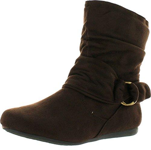 beston men shoes Women's Fashion Calf Flat Heel Side Zipper Slouch Ankle Boots