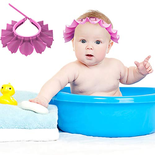 Baby Shower Cap Silicone Bathing Hat, Adjustable Shower Cap Kids, Infants Soft Protection Hat Safety Visor Cap Hat for Toddler Children (Pink, Small Size (0-8 Years old/14.5-19.7 Inches))