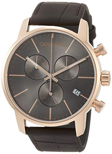 Calvin Klein City Grey Dial Leather Strap...
