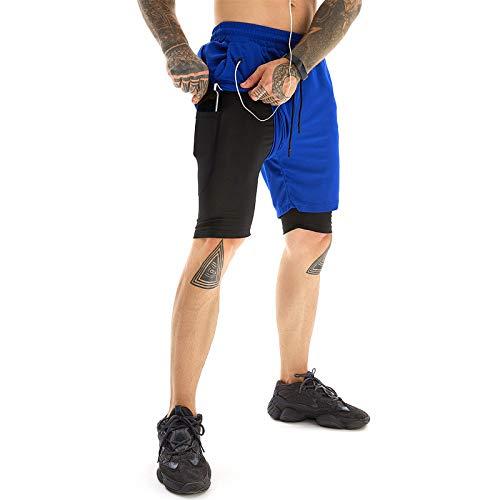 GHQYP Pantalones Chandal Cortos Hombre,Shorts Deportivos de Secado Rápido para Hombres de Verano, Pantalones de Cinco Puntos de Doble Capa,Blue, Men(L)