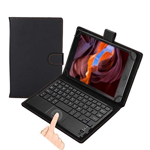 Vbestlife Bluetooth Touchpad Toetsenbord, Draagbaar Draadloos Afneembaar Ergonomisch Toetsenbord met PU Lederen Flip Case Beschermende Cover voor 7-8 Inch Tablet Compatibel Android/Windows/iOS