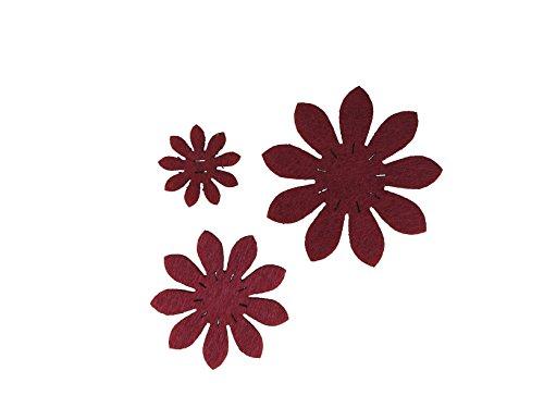 Petra S bastel News a-vif4745F28Feltro Fiori Set, 3Diversi Fiori, 45Pezzi, Feltro Colore: Rosso
