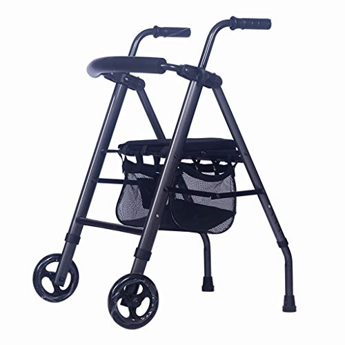 Gehrahmen Walker Old Man Folding Warenkorb Senioren Travel Special Trolley Vierbeiner Lightweight Scooter Rollstuhl Standing Walker (Color : Black, Size : 78 * 58cm)