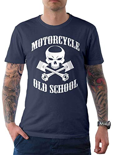Rebel on Wheels heren T-shirt Tee Oldschool Punisher Bike Biker Motorcycle Skull Schedel