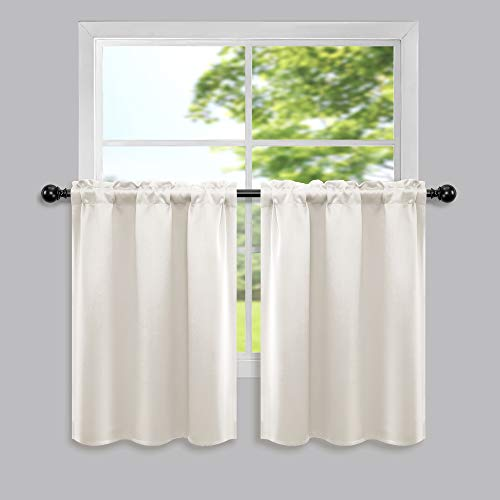 Cream White Short Curtains 30 Inch Length for Kitchen Pack 2 Panel Rod Pocket Blackout Cafe Curtain Tier Thermal Insulated Room Darkening Light Cold Blocking Small Curtains for Bedroom RV Window Beige