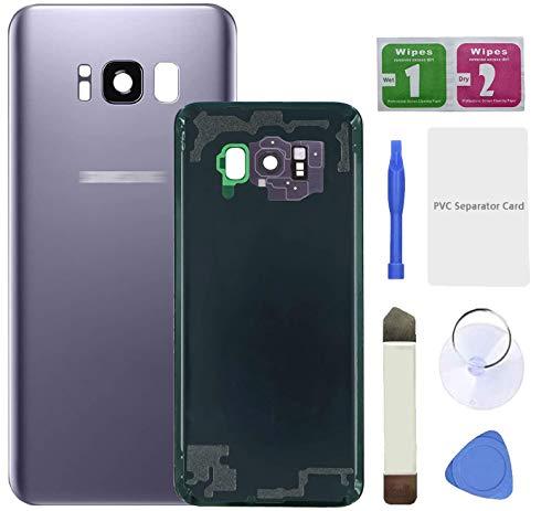 Eonpam Tapa batería Vidrio Trasera Reemplazo para(Samsung Galaxy S8) Kit reparación Original Cristal Trasero con Lente de cámara (Gris)