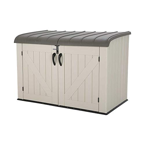 Lifetime 6 x 3.5 ft Heavy Duty Low Plastic Shed Horizontal Storage Box - Desert Sand/White