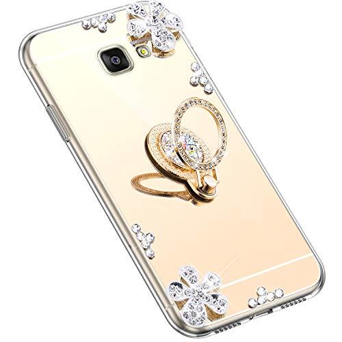 Uposao Kompatibel mit Samsung Galaxy A7 2016 Hülle Silikon Spiegel Handyhülle Schutzhülle mit 360 Grad Ring Ständer Glitzer Kristall Strass Diamant Mädchen Handy Tasche Silikon Hülle Case,Gold
