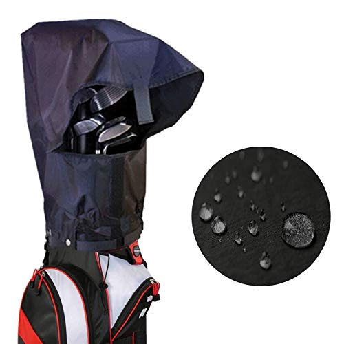 FINGER TEN Golf Bag Rain Hood Cover Pack, Black Rain Cape Umbrella for Golf Cart Bags, Fit Almost All Golfbags Taylormade Titleist Callaway Mizuno (Rain Hood Cover)