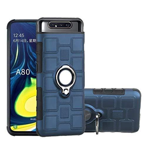 Coque Samsung Galaxy A90, Slim Fit TPU avec Support de BagueSilicone Gel Anti Mince Placage Bumper Housse Lustre Métal 360° Bague Support Téléphone Voiture Etui (bleu sucro)